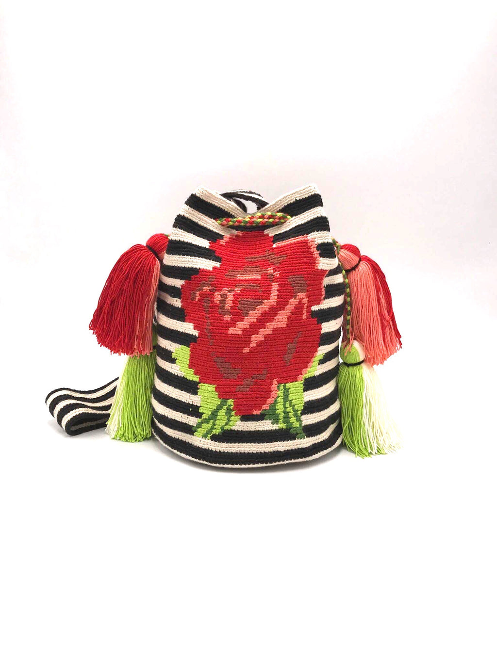 Pompom bag, Red flower, black stripes, double pompom