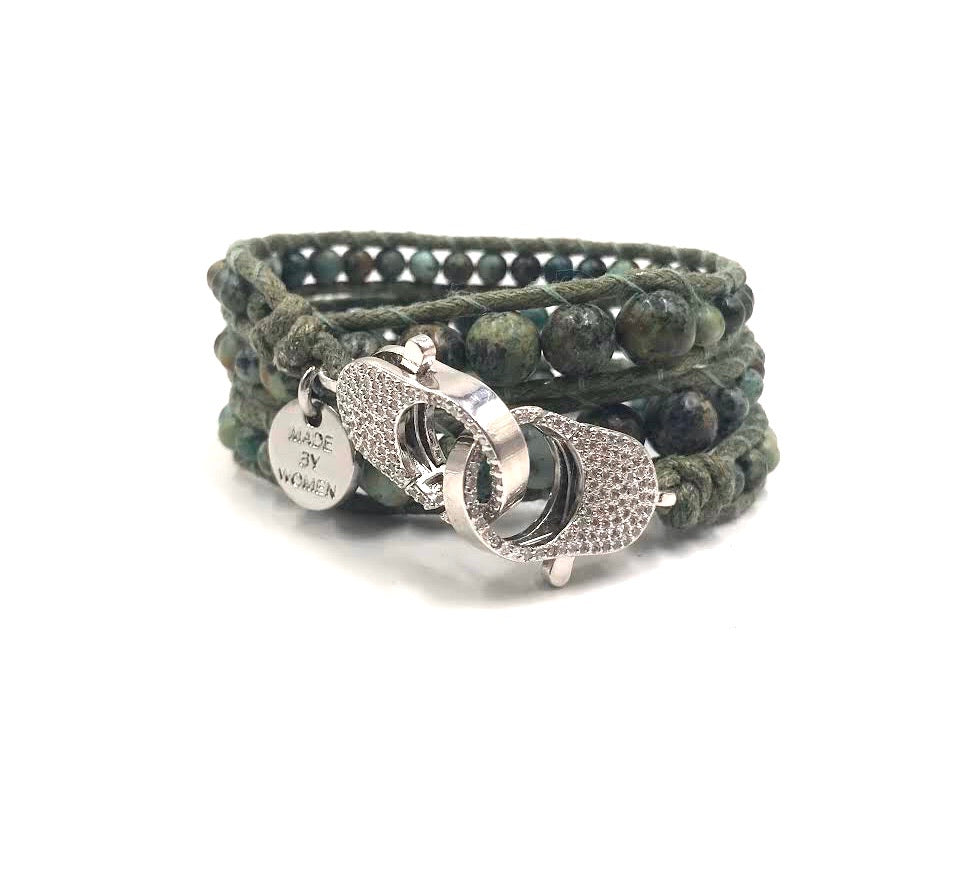 African green turquoise wrap bracelet, silver clips