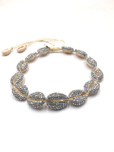 Natural shell choker necklace, entirely studded with Swarovski
