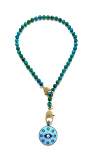 Chrysocolla Gaia necklace, gold zirconia clips