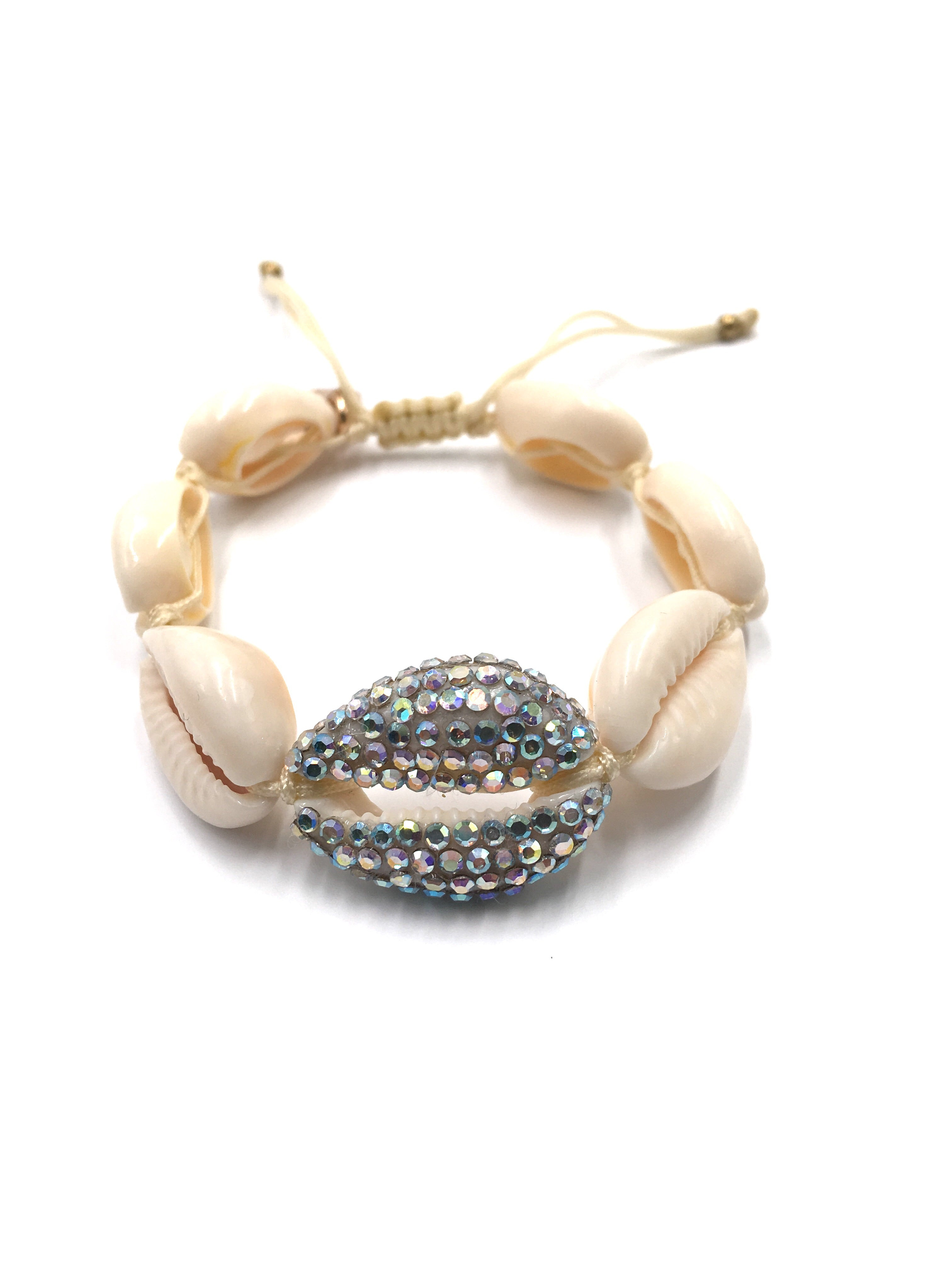 Natural Shell bracelet , studded with Swarovski AB, Crea.m cord