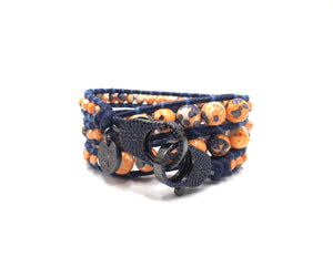 Orange stone wrap bracelet, black clips