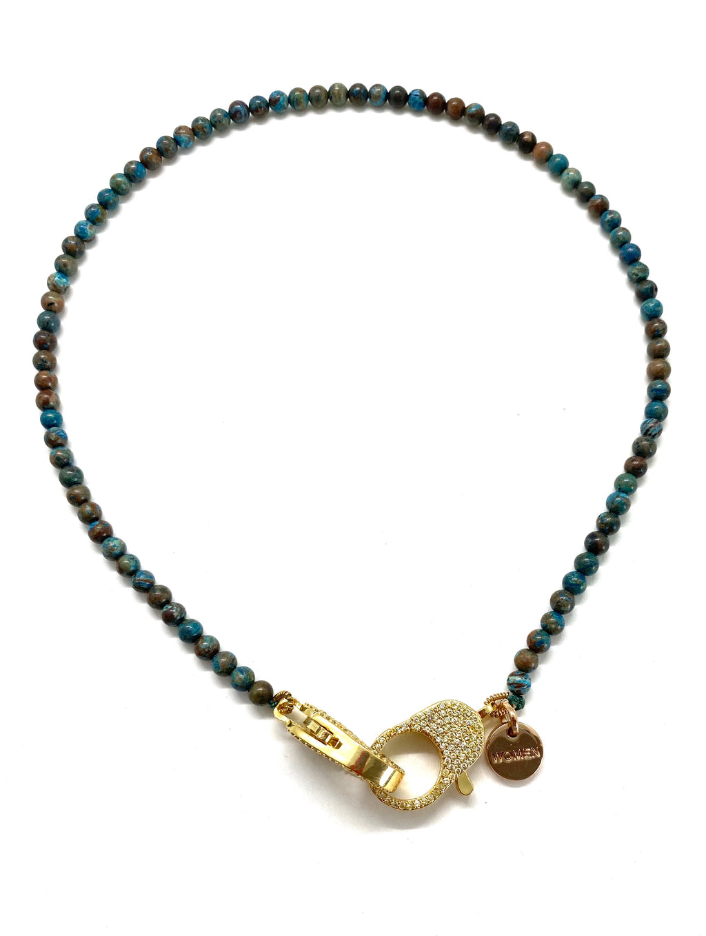 Clip to impact, Blue crazy lace agate Christine necklace, with gold zirconia clips.
