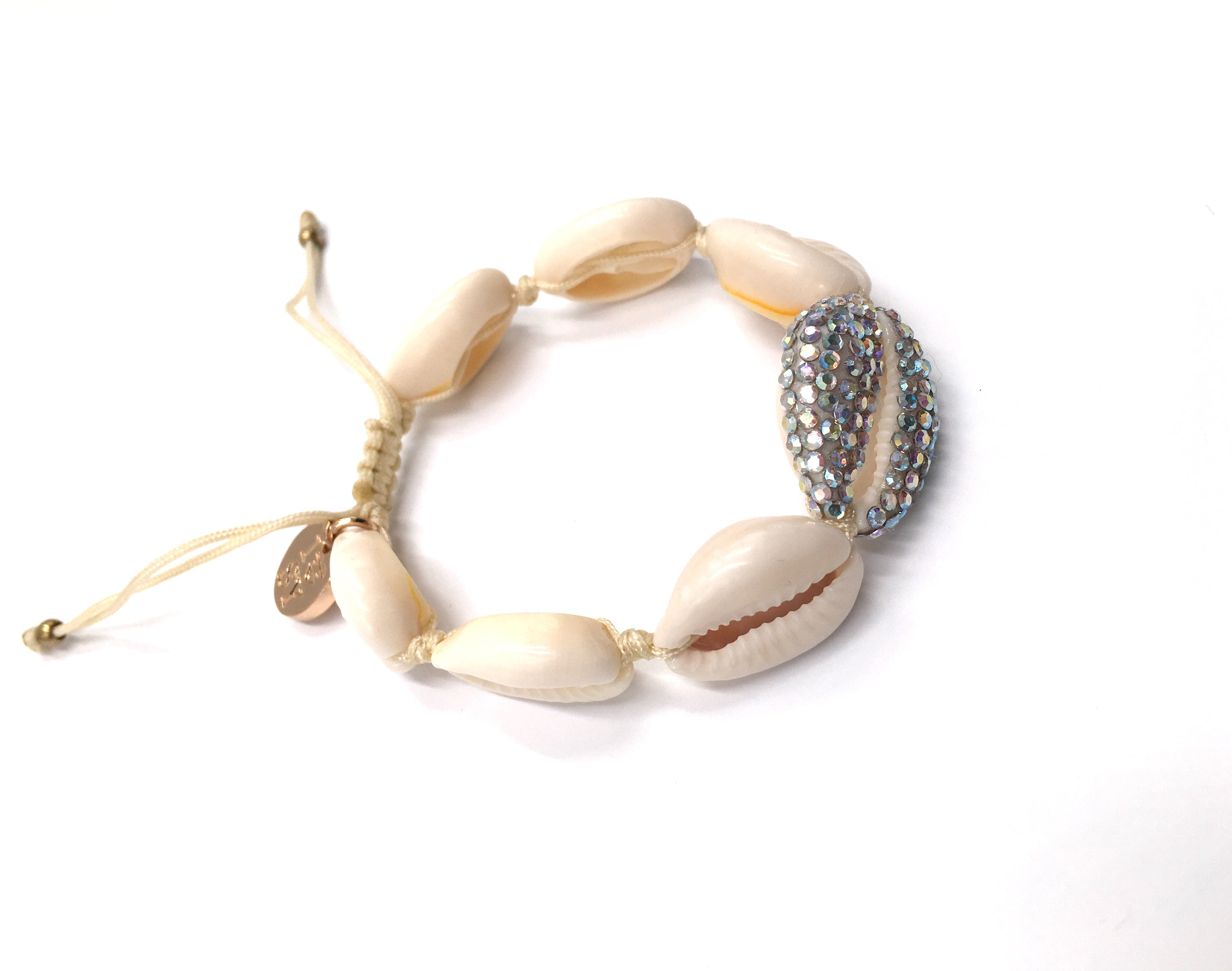 Natural Shell bracelet , studded with Swarovski AB, Cream cord
