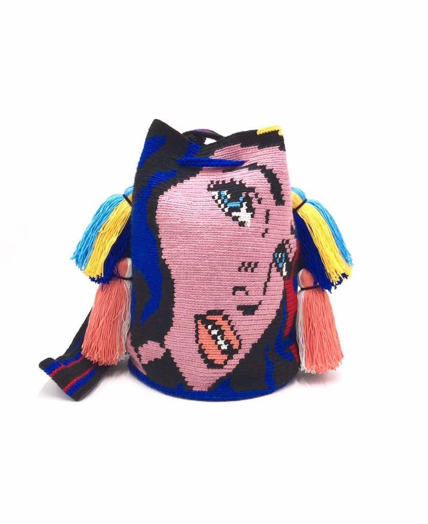 Wonderwoman Bag, electric blue body, quadruple tassel.