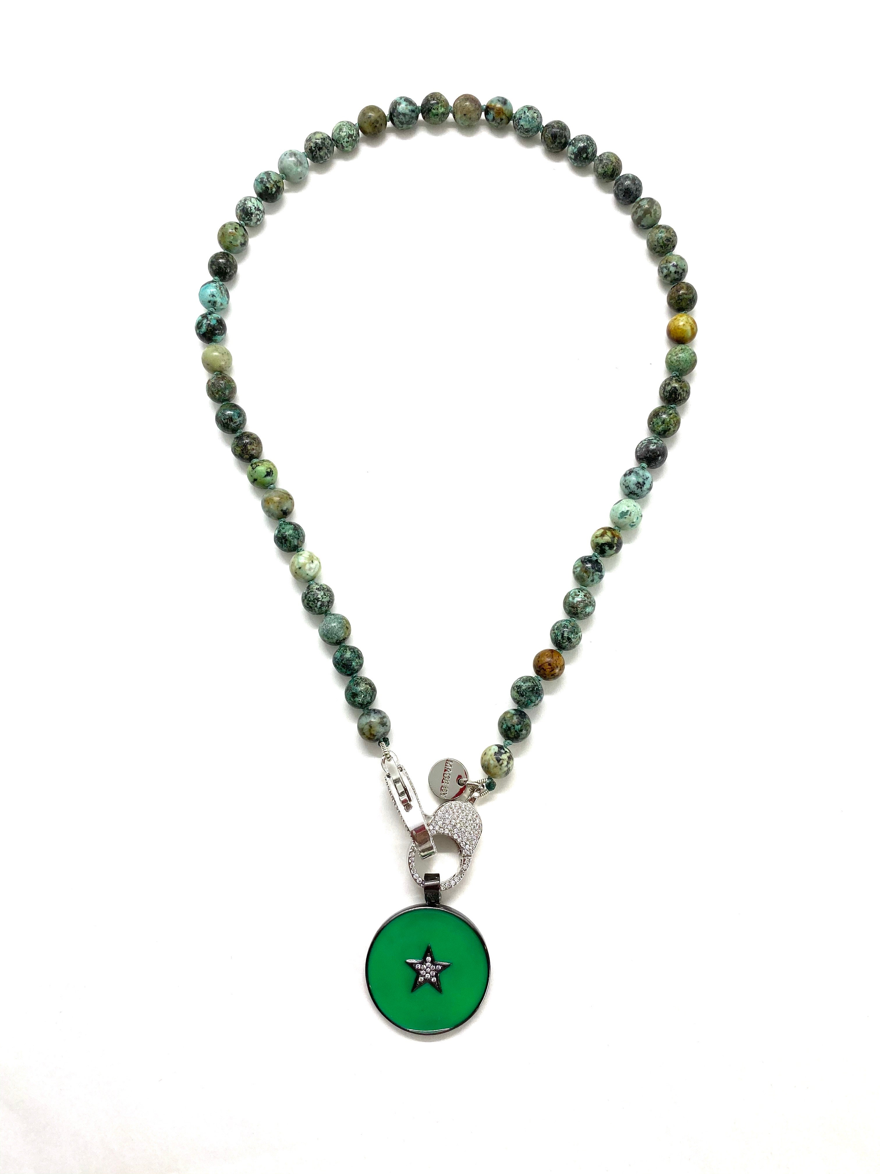 African green turquoise, silver clasp