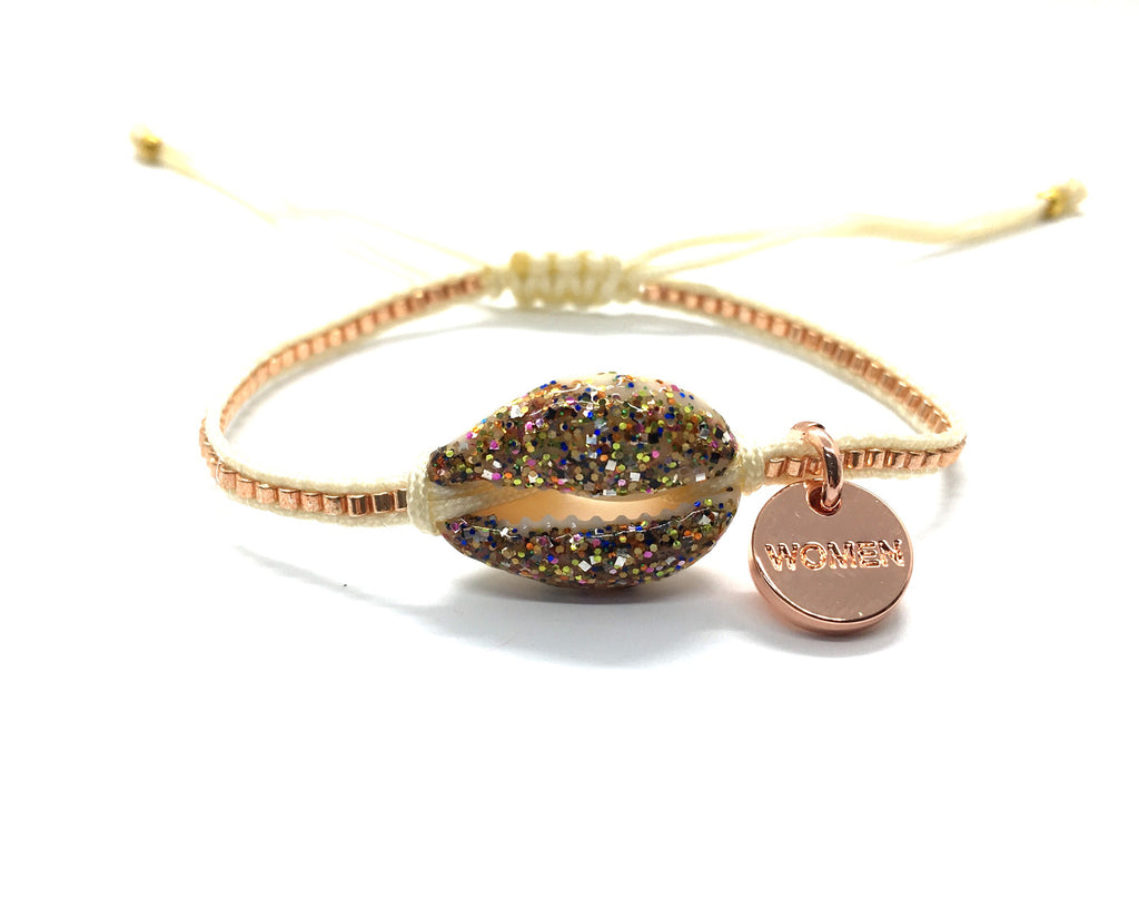 Choco multi color enamel shell bracelet, with Miyuki beads and cream cord