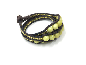 Triple Wrap around bracelet, yellow bead brown cord