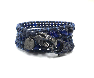 Clip to Impact Blue Lapid Tiger bracelet with black zirconia.