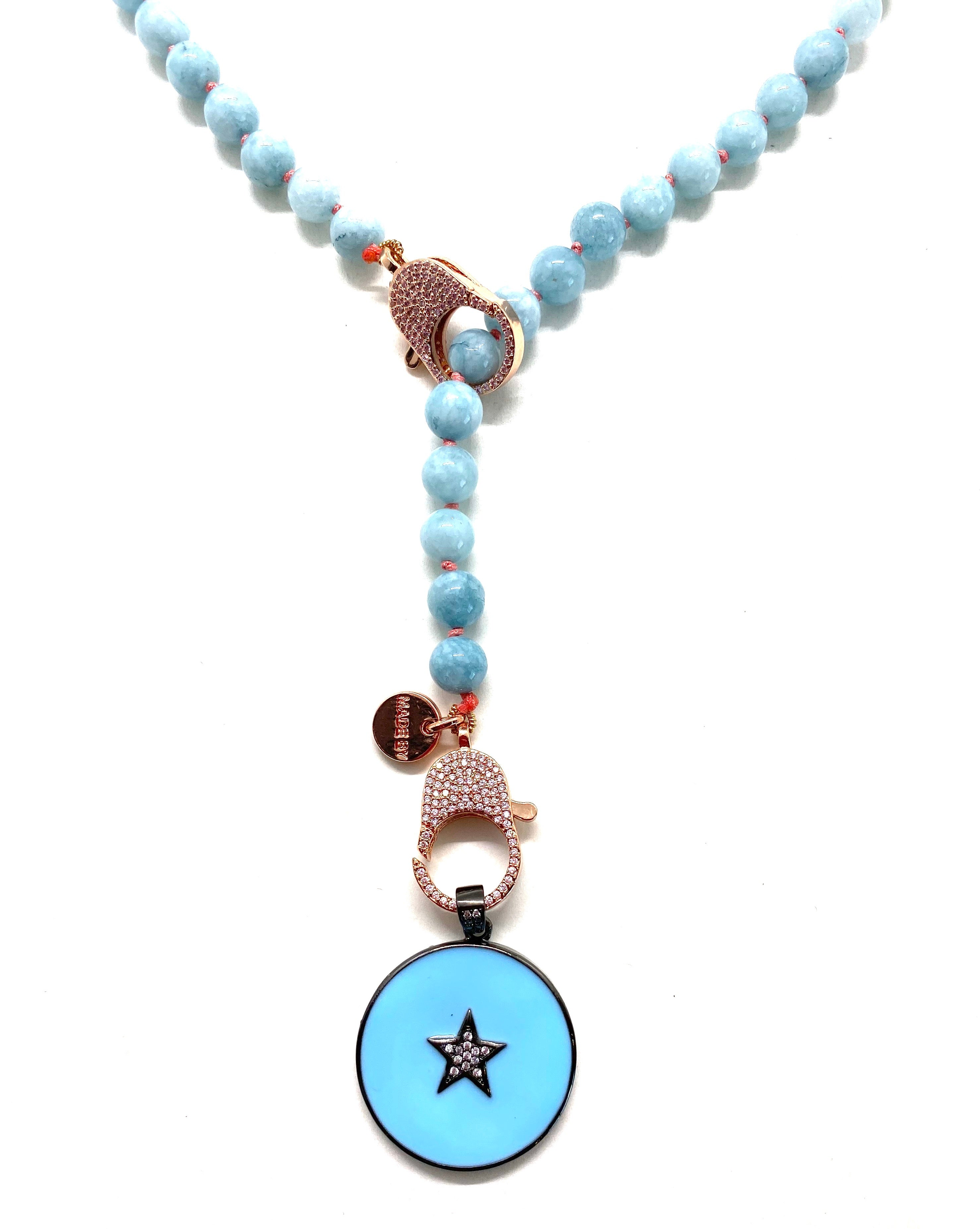 Blue jade Gaia necklace, blue sta pendant, rose gold clips