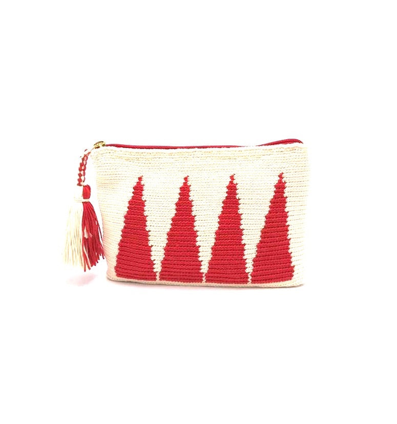 Clutch, Off white body, Red standing pyramids with tassel.