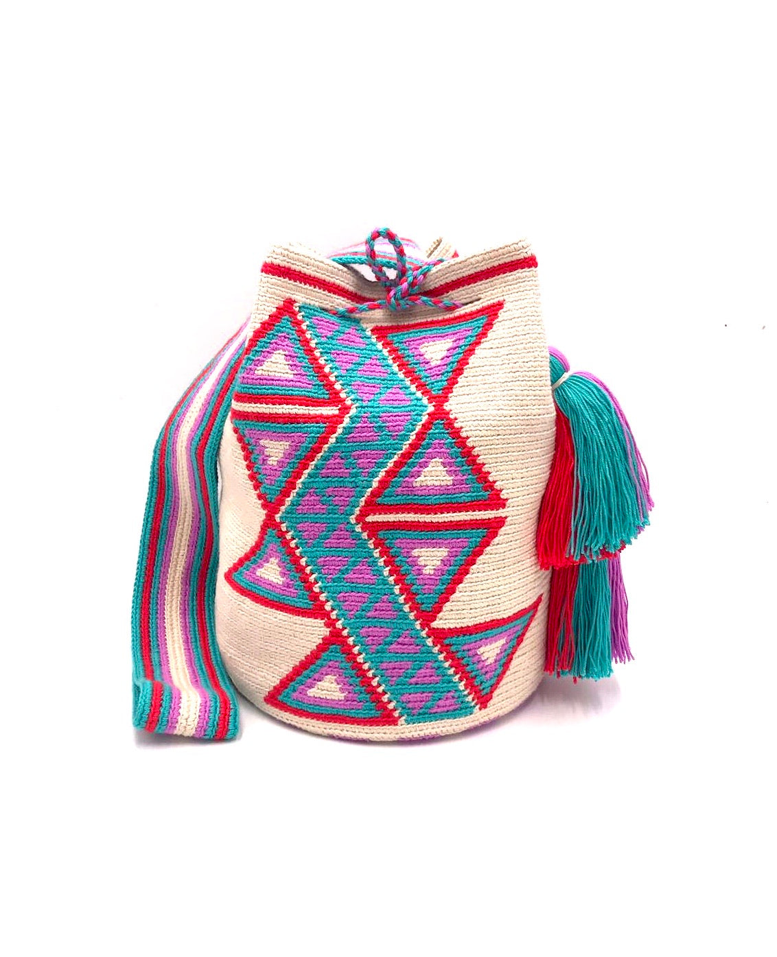 Cream color bag, central red and turquoise triangles with central turquoise sequence with little purple triangles and 2 tassels.