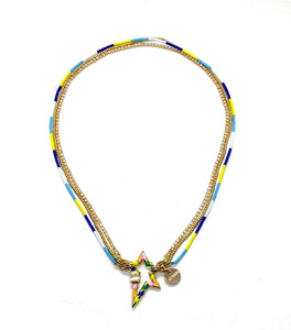 Star necklace, blues and yellow combo