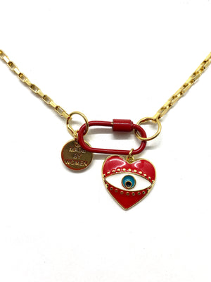 Red link gold chain hardware necklace, red heart pendant