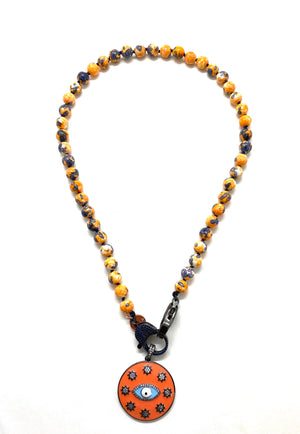 Yellow rainbow Gaia necklace, dark blue zirconia clips