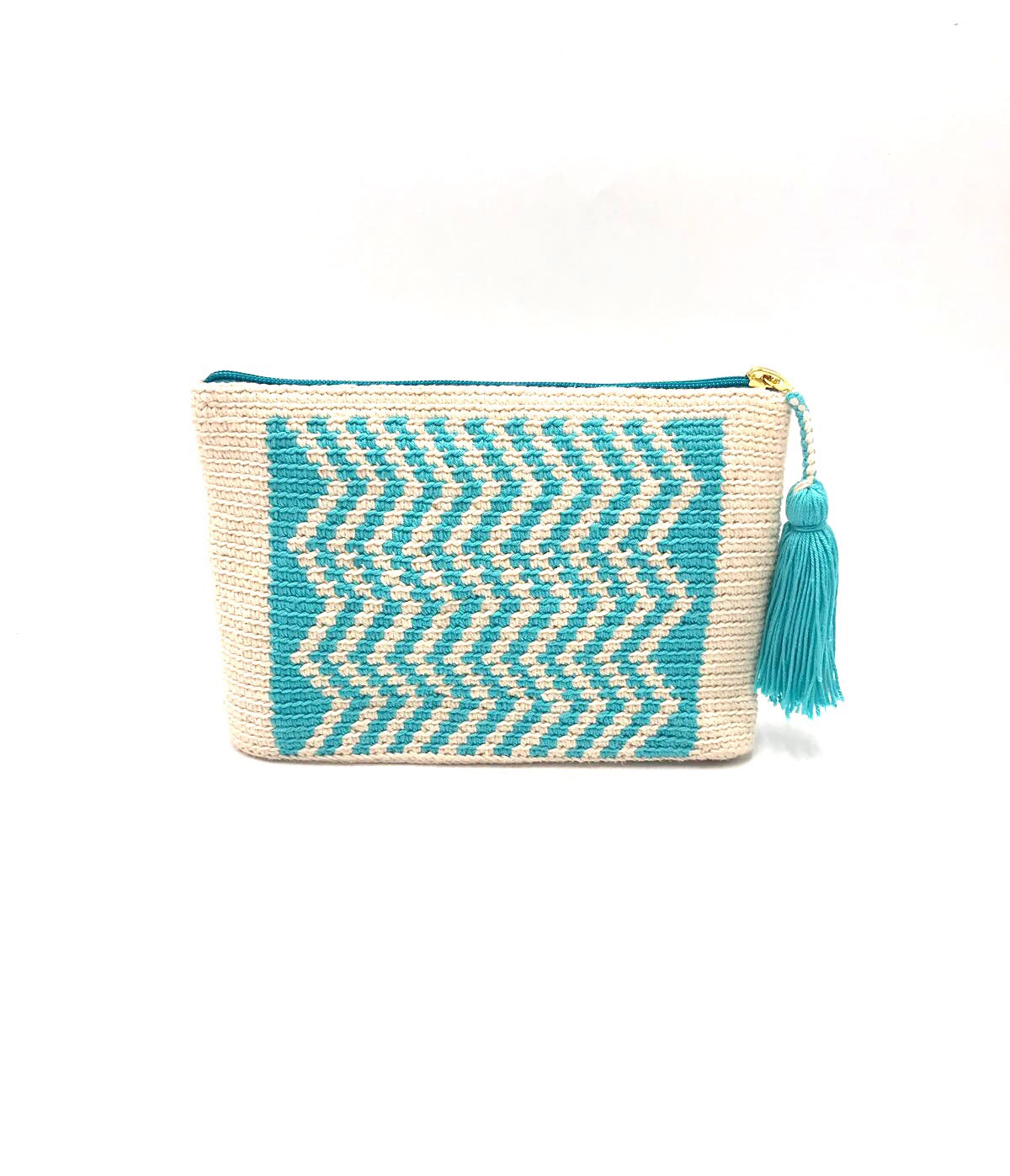 Clutch, Off white body, turquoise wave pattern with tassel.
