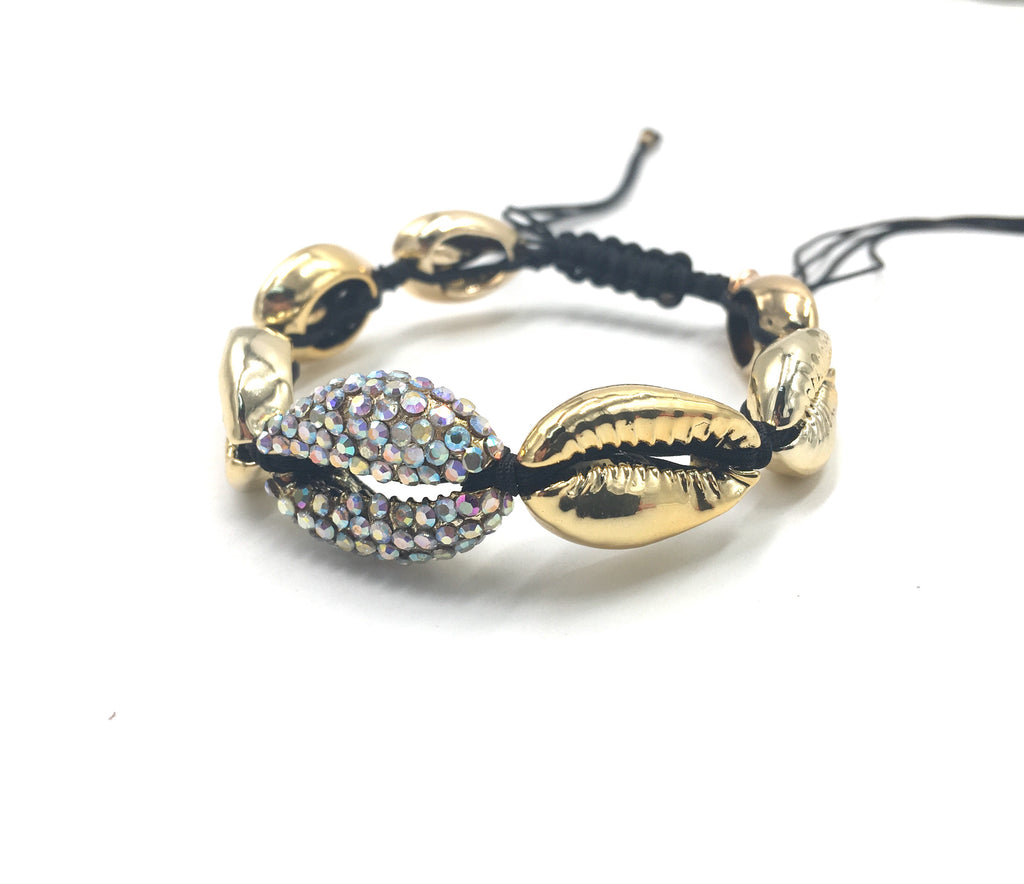 Gold shell bracelet, with Swarovski studded central shell, and black cord