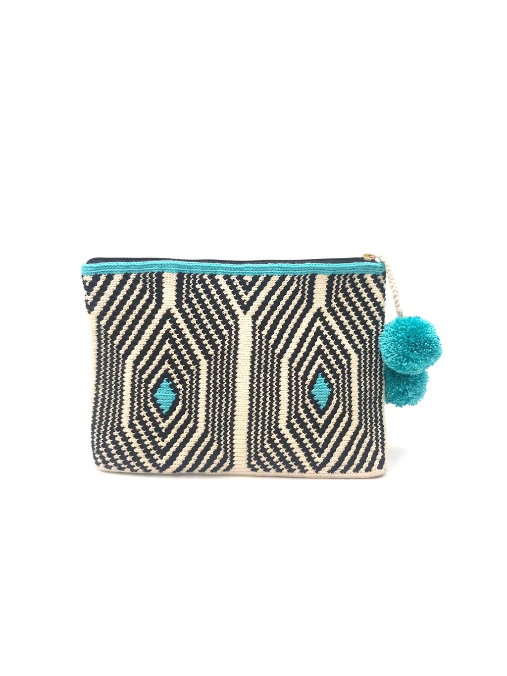 Honeycomb clutch, off white body, black sequence and turquoise with turquoise pompoms.