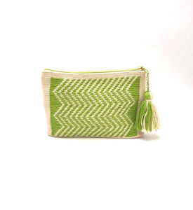 Clutch, cream body, light green waves pattern with tassel.