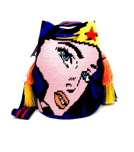Wonderwoman bag with crown and 4 tassels.