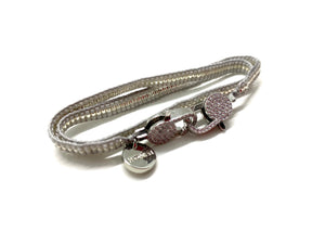 Grey miyuki bracelet, silver sequence and clips