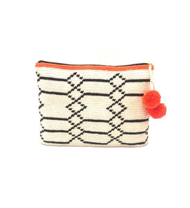 Clutch, Off white body, black sequence geometric pattern with pompom.