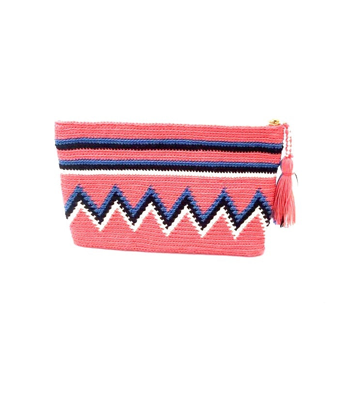 Clutch, Coral body blue, black and white sequence, with tassel.
