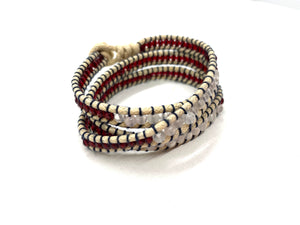 Wraparound quartz bead bracelet with vintage red swarovski side bead.