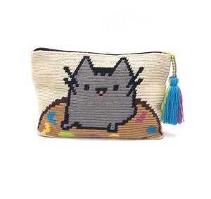 Fat cat in donut clutch, with tassel.