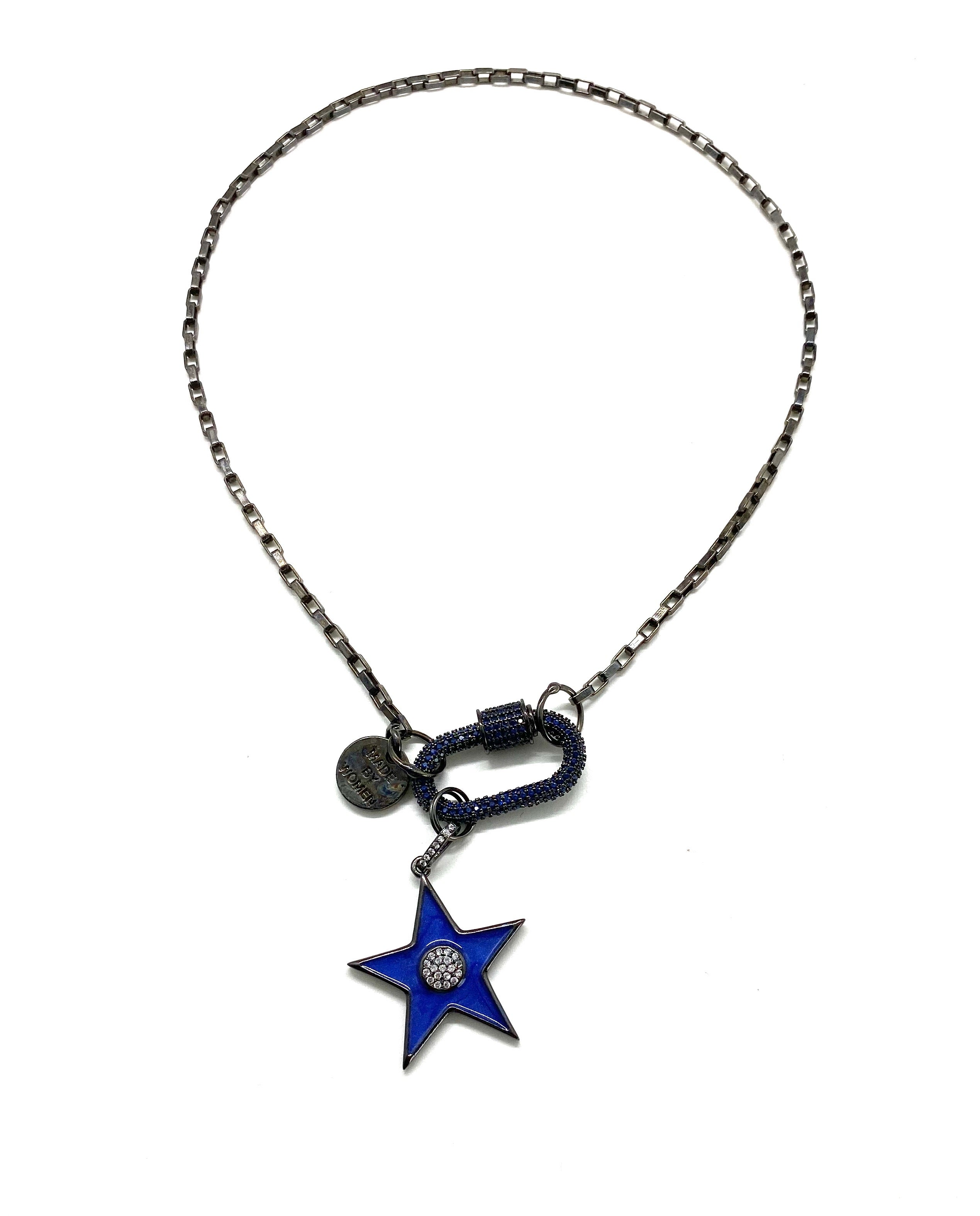 Dark blue hardware necklace, black chain