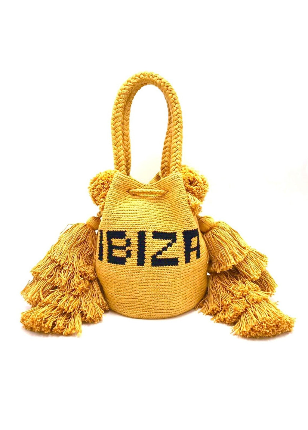 Ibiza bag, Mustard and triple tassel.