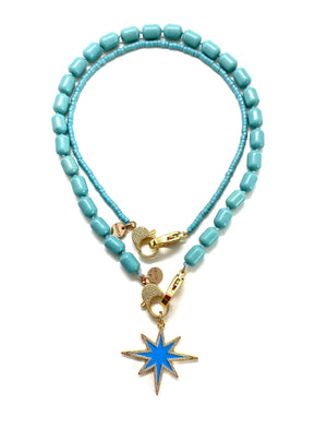 Clip to impact, Turquoise Gaia necklace, blue star.