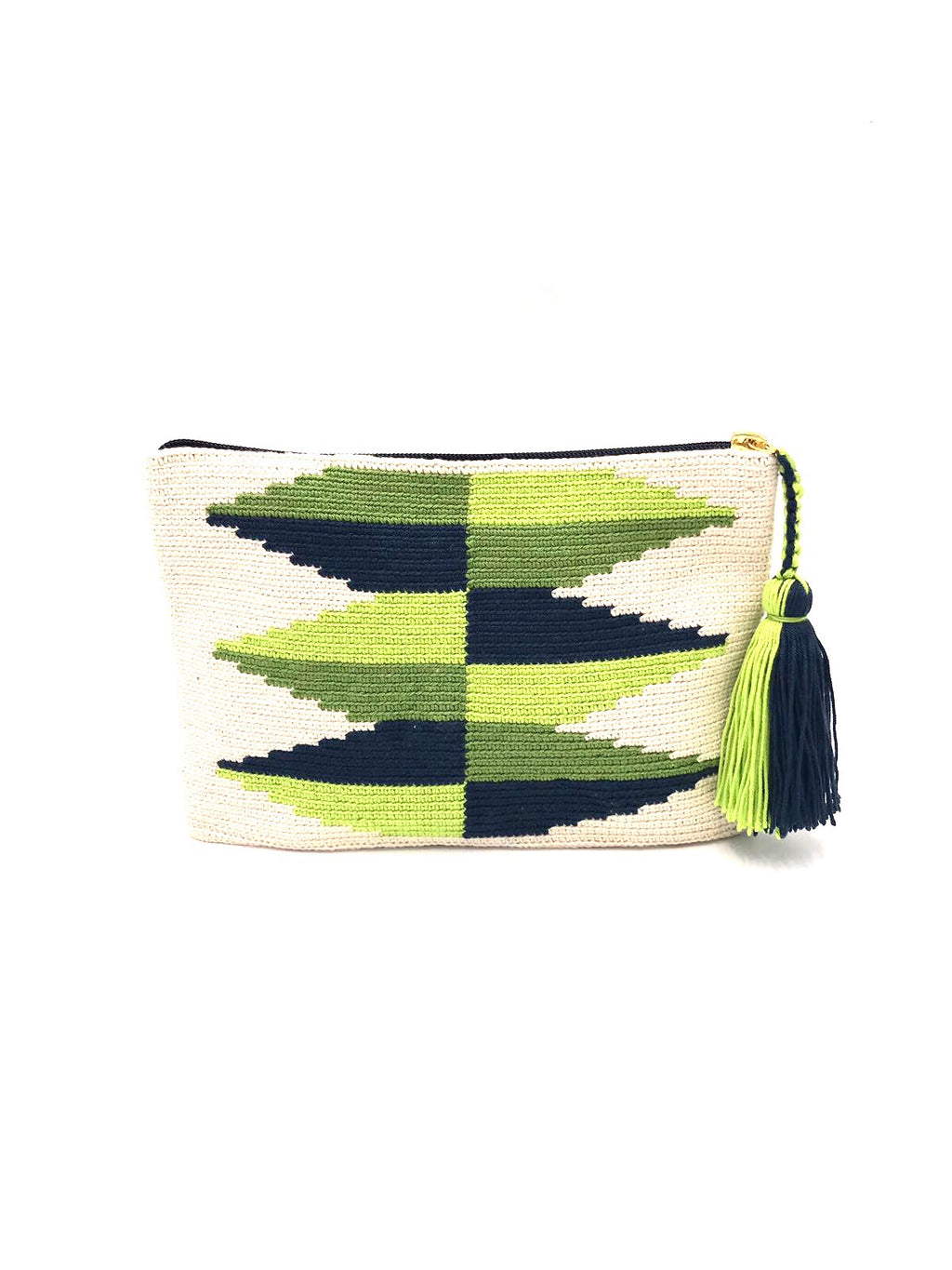 Clutch, cream body, light green and grass green inverted triangles