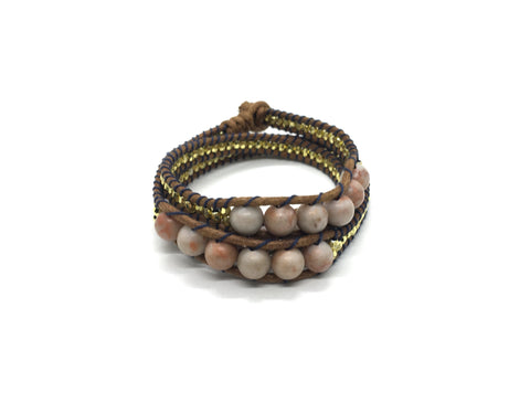 Wraparound bracelet, light red Jasper Stone.