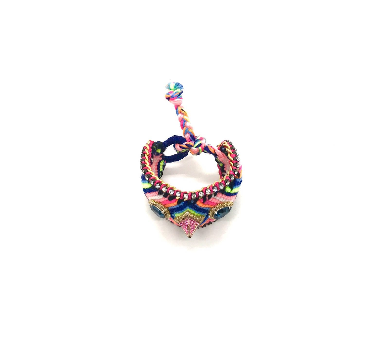 Luxury friendship bracelet- blue pink mix- navy crystal- pink ribbon