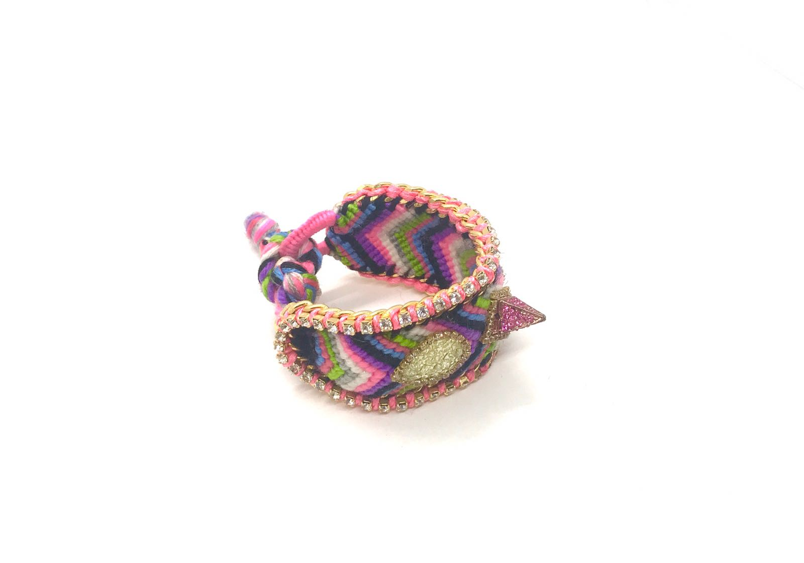 Luxury friendship bracelet- pink green mix- AB raisin- light pink ribbon