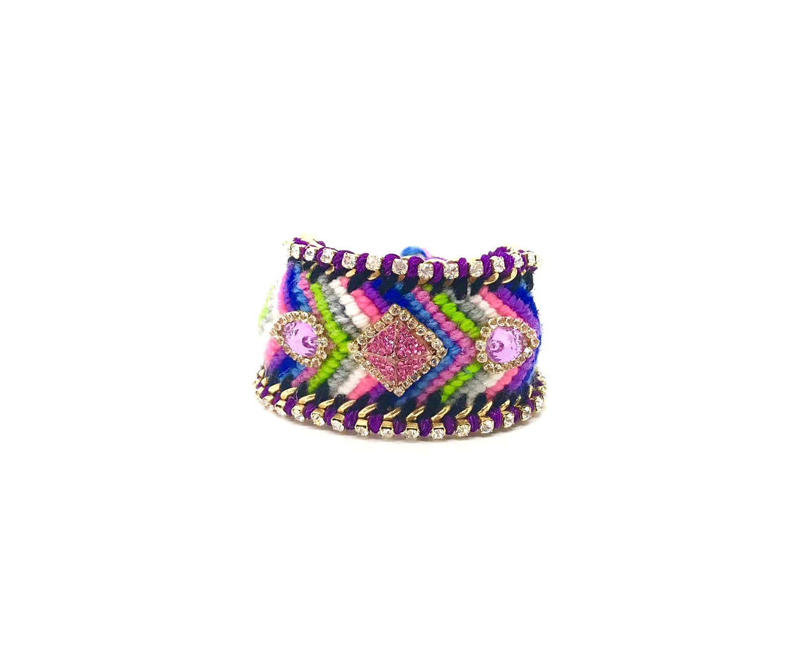 Luxury friendship bracelet- pink green mix- purple crystal- purple ribbon