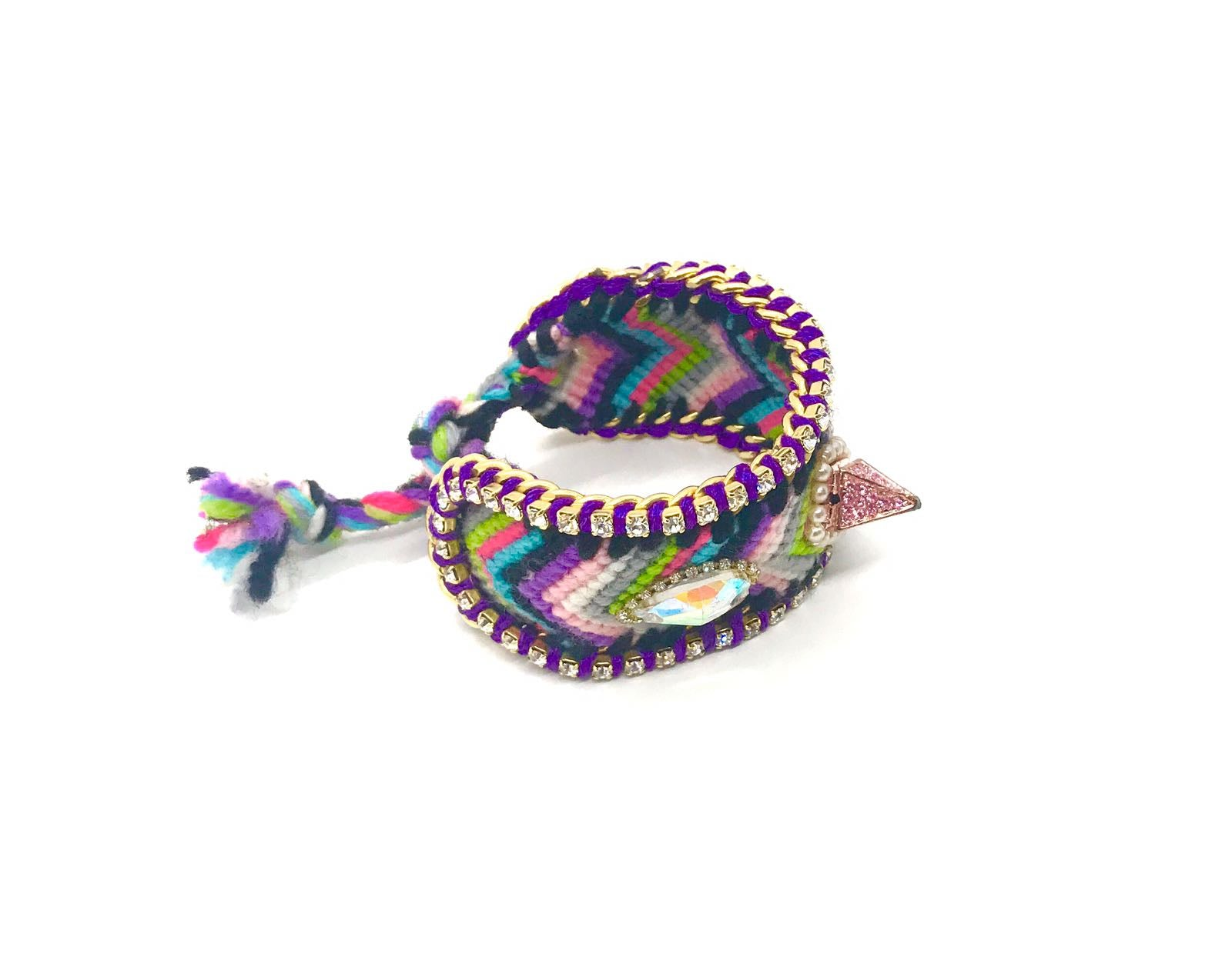 Luxury friendship bracelet- pink green mix- AB crystal- purple ribbon