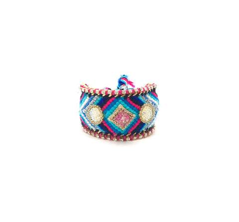 Luxury friendship bracelet- blue mix- AB raisin circle- pink ribbon