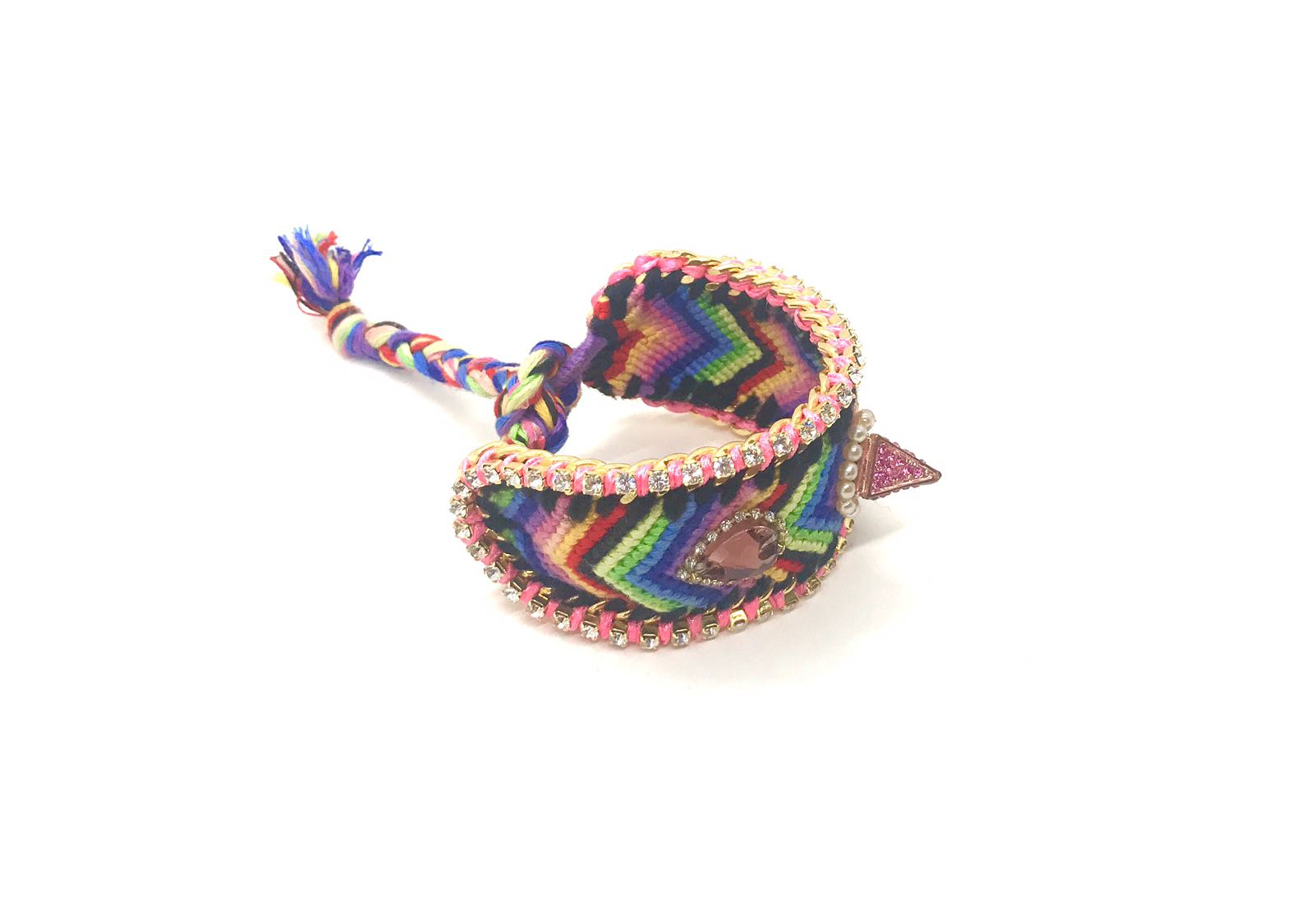 Luxury friendship bracelet- rainbow mix- purple crystal- pink ribbon
