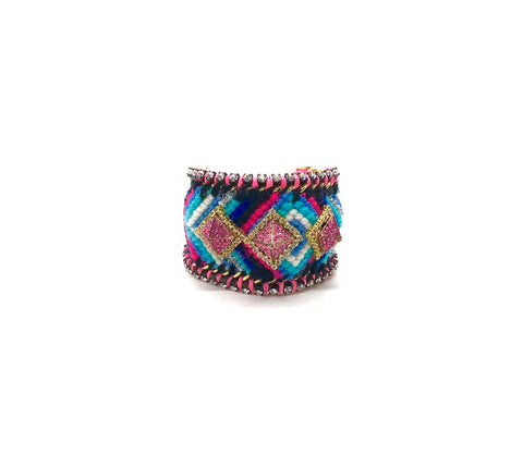 Luxury friendship bracelet- blue mix- pink crystal pyramid- pink ribbon