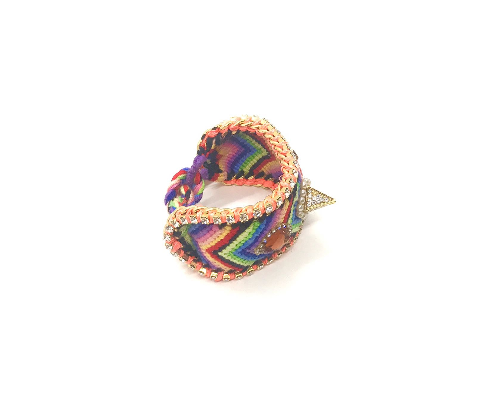 Luxury friendship bracelet- rainbow mix- brown and white crystal- orange ribbon