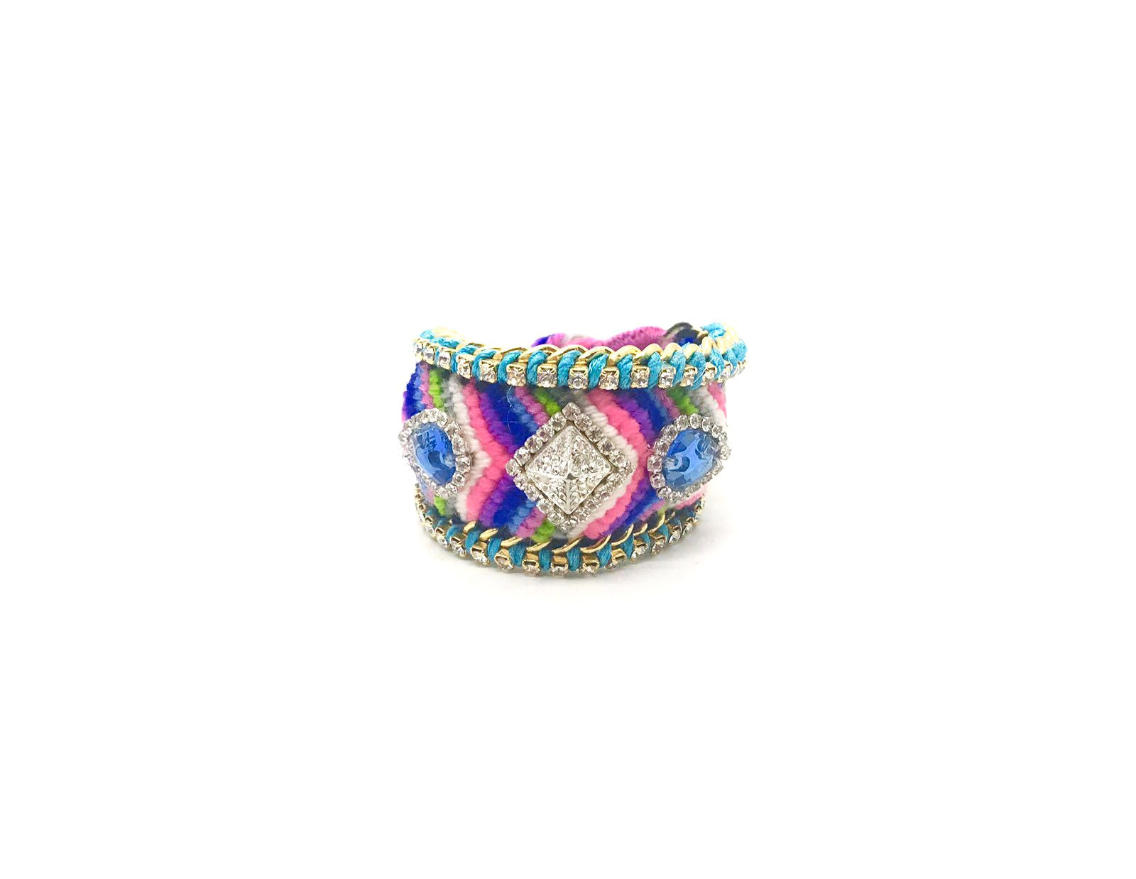 Luxury friendship bracelet- pink green mix- blue crystal- light blue ribbon