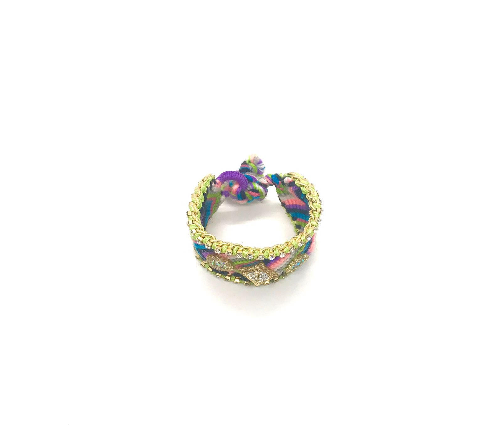 Luxury friendship bracelet- pink green mix- AB raisin- green ribbon
