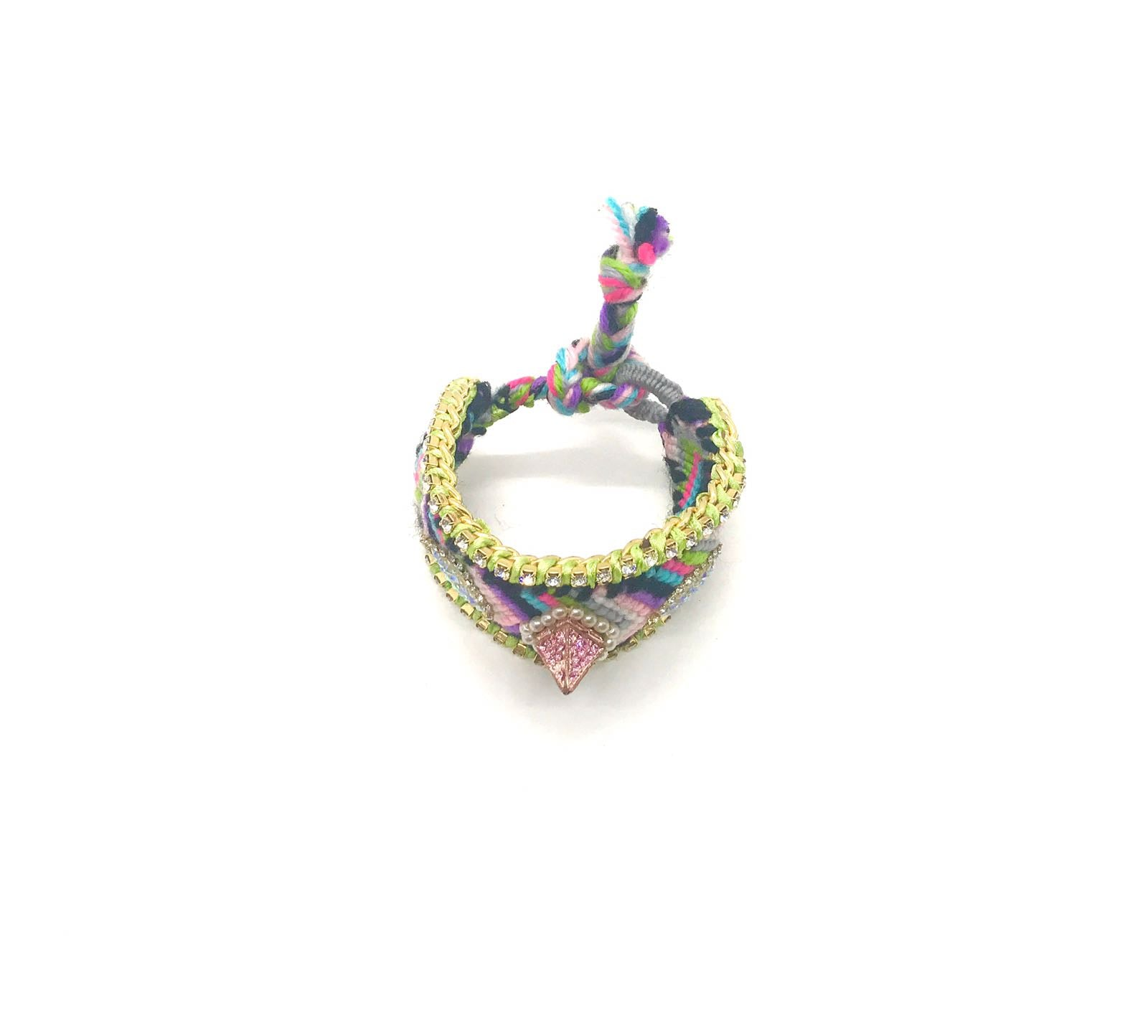 Luxury friendship bracelet- pink green mix- AB raisin droplet- green ribbon