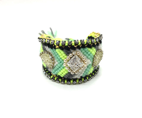Luxury friendship bracelet- green grey mix- AB raisin- green ribbon