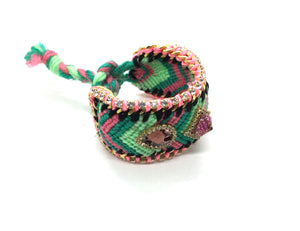 Luxury friendship bracelet- green mix- purple crystal- pink ribbon