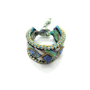 Luxury friendship bracelet- blue grey mix- light blue crystal- light blue ribbon