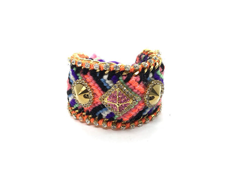 Luxury friendship bracelet- purple orange mix- gold crystal- orange ribbon