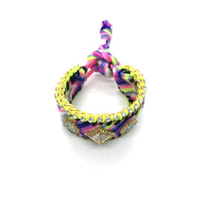 Luxury friendship bracelet- blue yellow mix- AB raisin- green ribbon